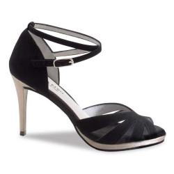 Anna Kern Ladies' Black Nappa Latin Sandals 624-50