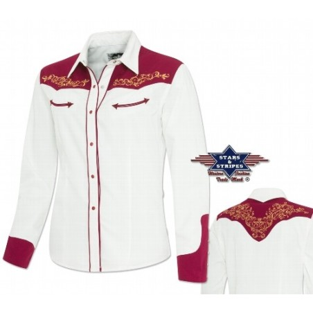 La Boutique Country - Western blouse with noble embroidery, fake pockets, western cuffs and snaps.Blouse Lucia Femme